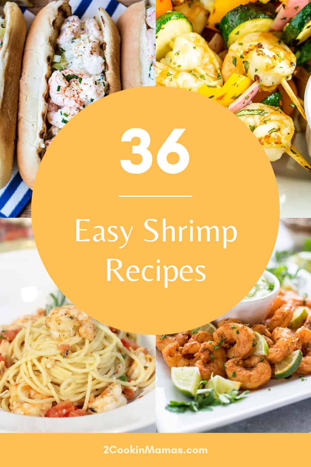 36 recipes for shrimp showing shrimp roll shrimp skewers rattlesnake pasta and fried.