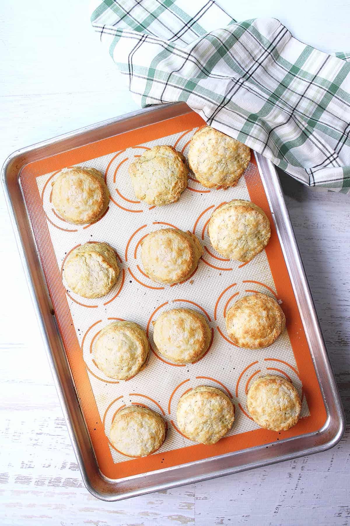 Baked southern buttermilk biscuits on cookie sheet.