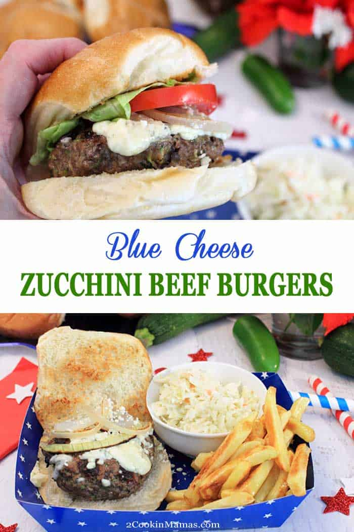 Blue Cheese Zucchini Beef Burgers | 2 Cookin Mamas Sneak a little healthy into your next cookout - add zucchini to your burgers! These blue cheese zucchini beef burgers are seasoned with jalapenos & red onions and topped with blue cheese. Grilled to perfection, no one needs to know there's a little something extra in there. Great for Memorial Day, 4th of July & summer BBQs. #burgers #beef #zucchini #bluecheese #grilling #BBQ #MemorialDay #FourthofJuly #summer #dinner #picnic