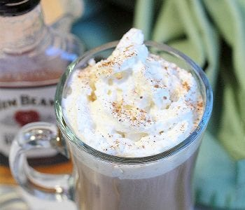 Top down view of Irish coffee with whipped cream