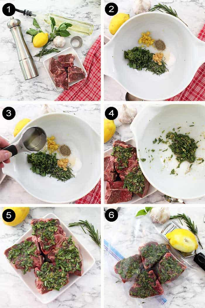 Steps to make rosemary basil paste for lamb chops.