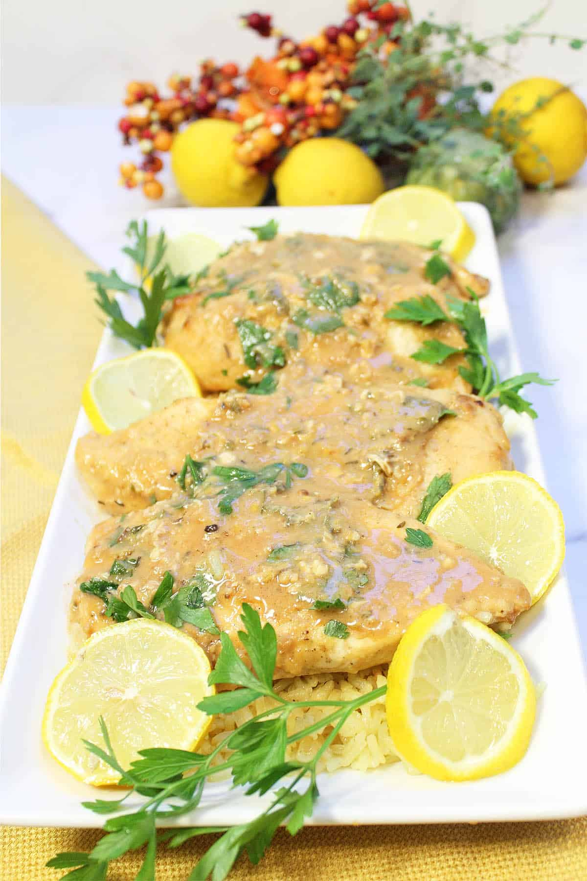 Chicken on white platter with wine sauce and garnished with lemon slices and parsley.