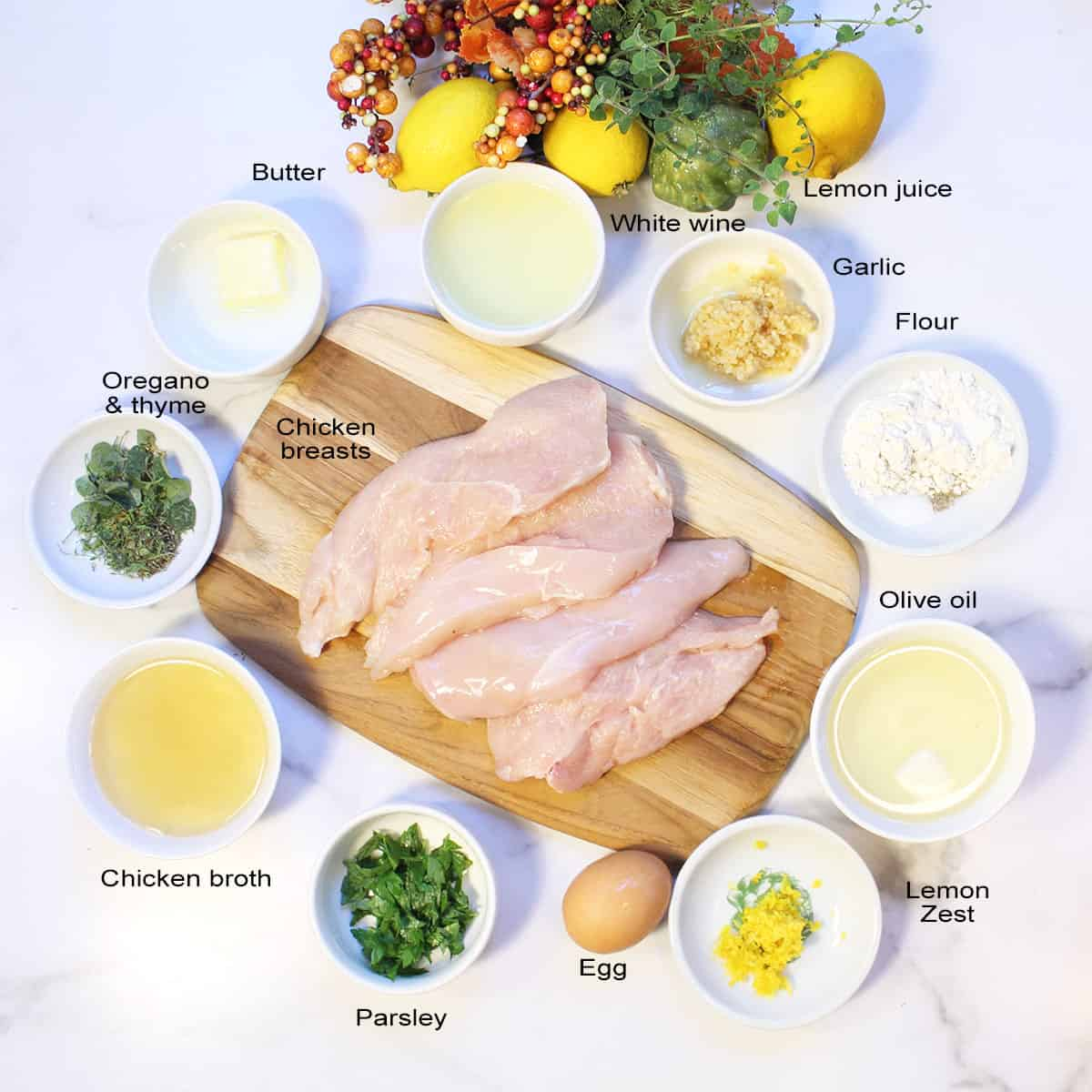 Lemon Chicken ingredients on white table labeled.