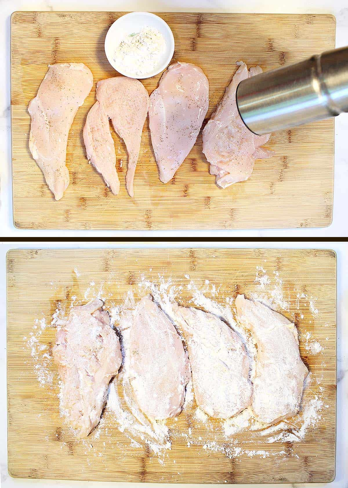 Prepping chicken on wooden cutting board.
