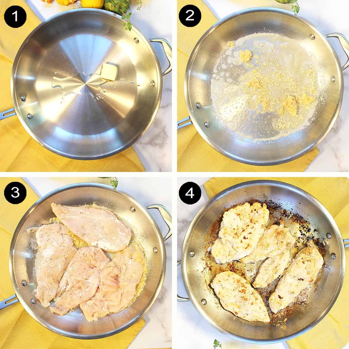Steps to brown chicken.