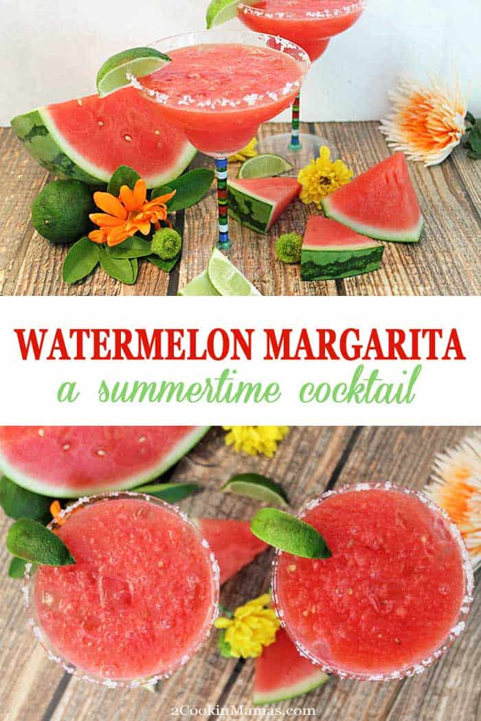 Watermelon Margarita | 2 Cookin Mamas A Watermelon Margarita is made for summer! A refreshing combination of juicy watermelon, tequila & a touch of lime makes this a perfect thirst quencher. #cocktail #summercocktail #margarita #watermelon #tequila
