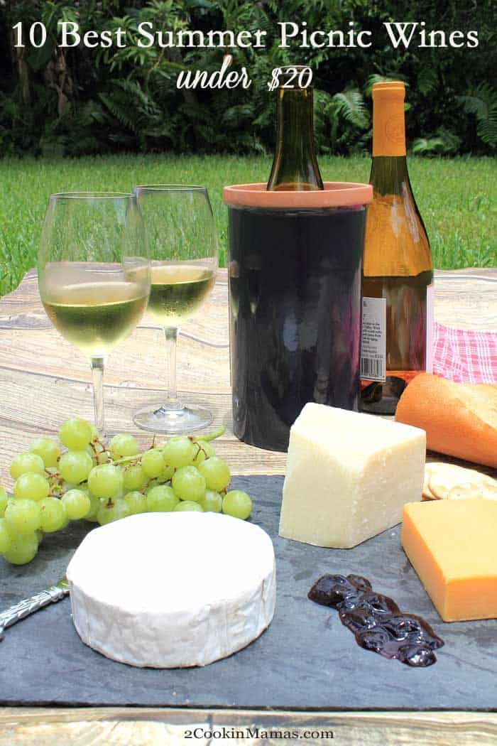 10 Best Summer Picnic Wines | 2 Cookin Mamas Summer means picnics, relaxing and enjoying good food and wine outdoors. Don't know which wines will go with a picnic? No problem, enjoy our picks for the 10 best summer picnic wines all under $20. #wine #drinks #summerwines #10bestwines #picnicwines #foodandwinepairing