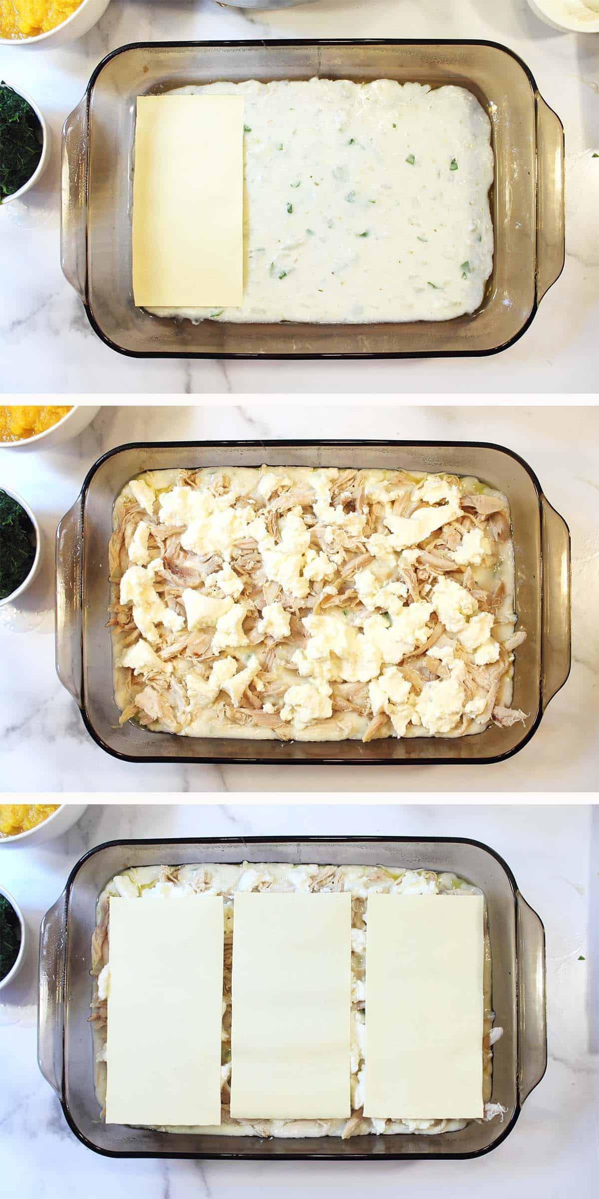 Assembling lasagna steps 1 - 3.