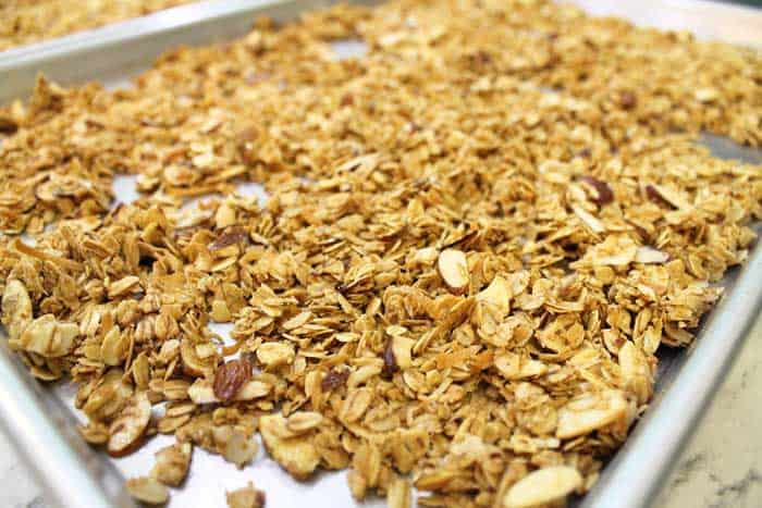 Fresh baked granola on cookie sheet.