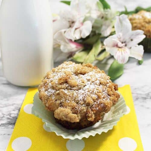 Banana Nut Muffins with Crumb Topping square