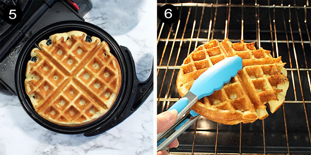 Steps to make gluten free waffles.