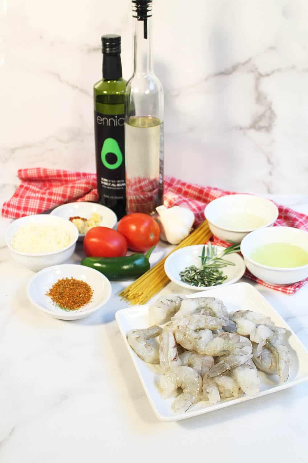 Ingredients for Cajun Shrimp Pasta.