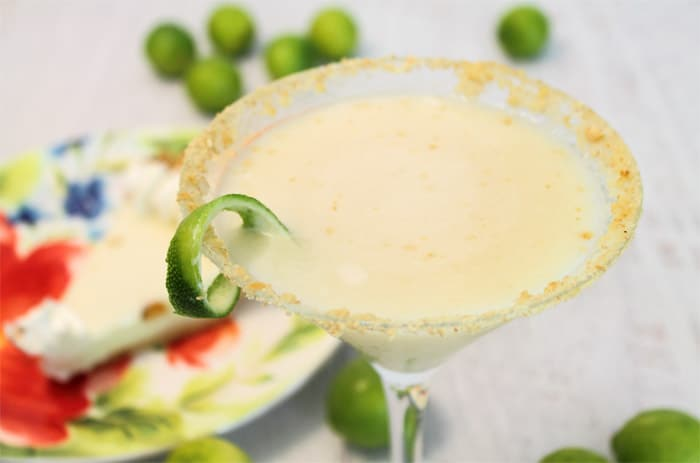 Key Lime Pie Martini closeup | 2 Cookin Mamas