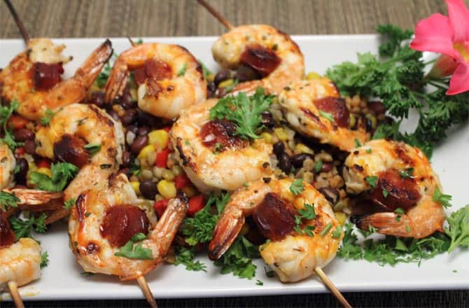Shrimp and Chorizo Skewers 670x|2CookinMamas