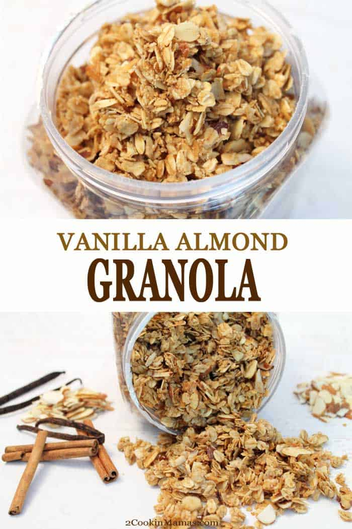This easy to make homemade vanilla almond granola is so good, you\'ll never buy granola again. It\'s healthier than store bought, you can add your favorite ingredients such as almonds and coconut and even adjust the sweetness to your family\'s tastes. Great for a yogurt topping for breakfast, grab handfuls for a snack or even top a dessert crisp. And it\'s simple to make it gluten-free too! #recipe #granola #homemade #almonds #snack #breakfast #honey #easy #healthy #glutenfree