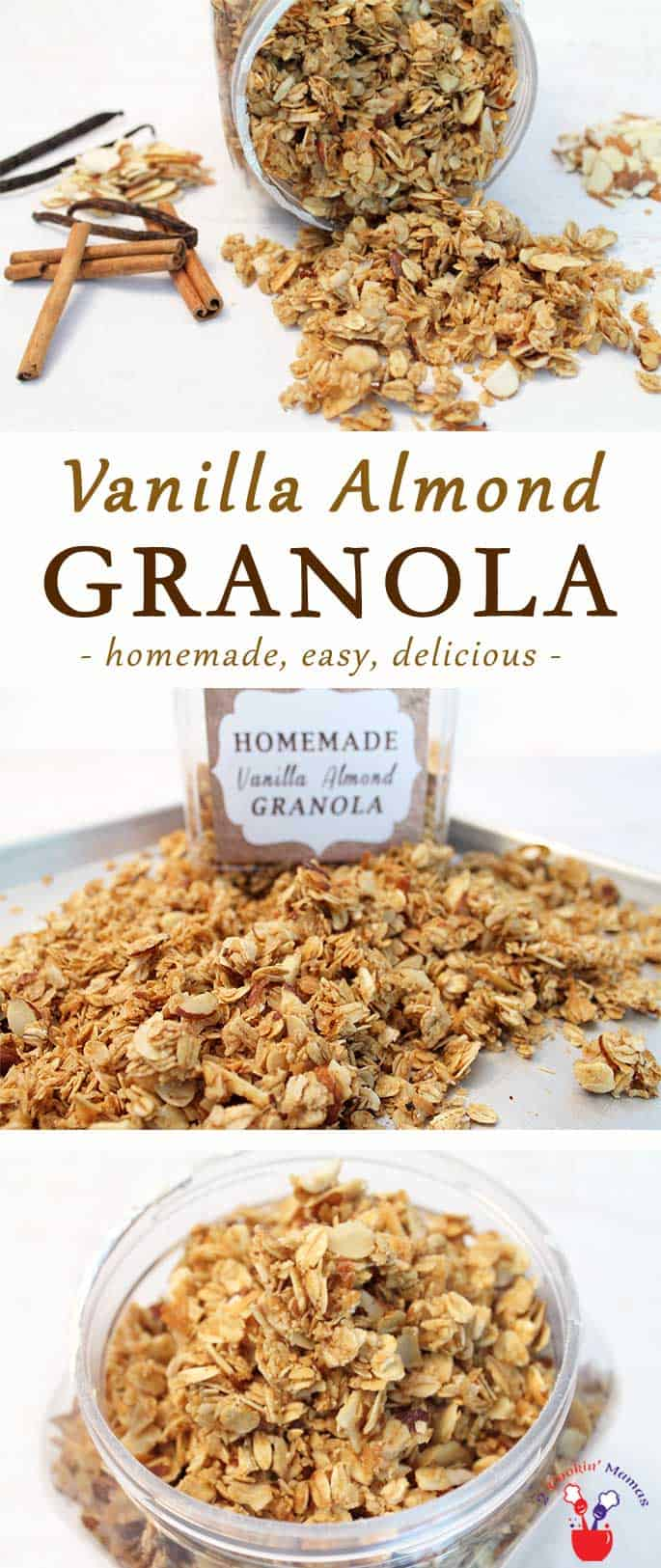 There's nothing better than homemade vanilla almond granola. It's healthier than store bought, easy to make & great as a snack or yogurt topping. #granola #almonds #snack #breakfast