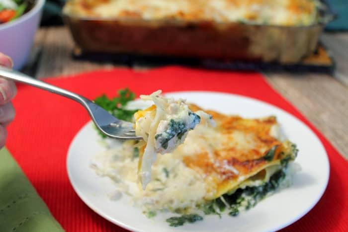 White Chicken Lasagna bite | 2 Cookin Mamas