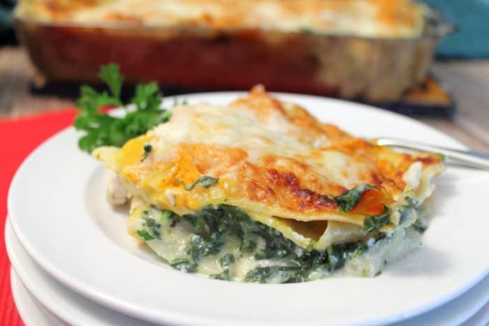 White Chicken Lasagna closeup | 2 Cookin Mamas