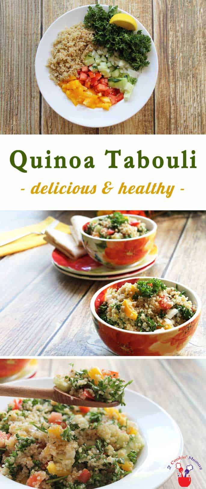 Quinoa tabouli takes traditional tabouli to the next level! A nutrient-rich salad recipe that's packed full of a veritable garden of vegetables providing protein, fiber and antioxidants. #quinoa #tabouli #glutenfree #salad #healthyrecipe #lunch
