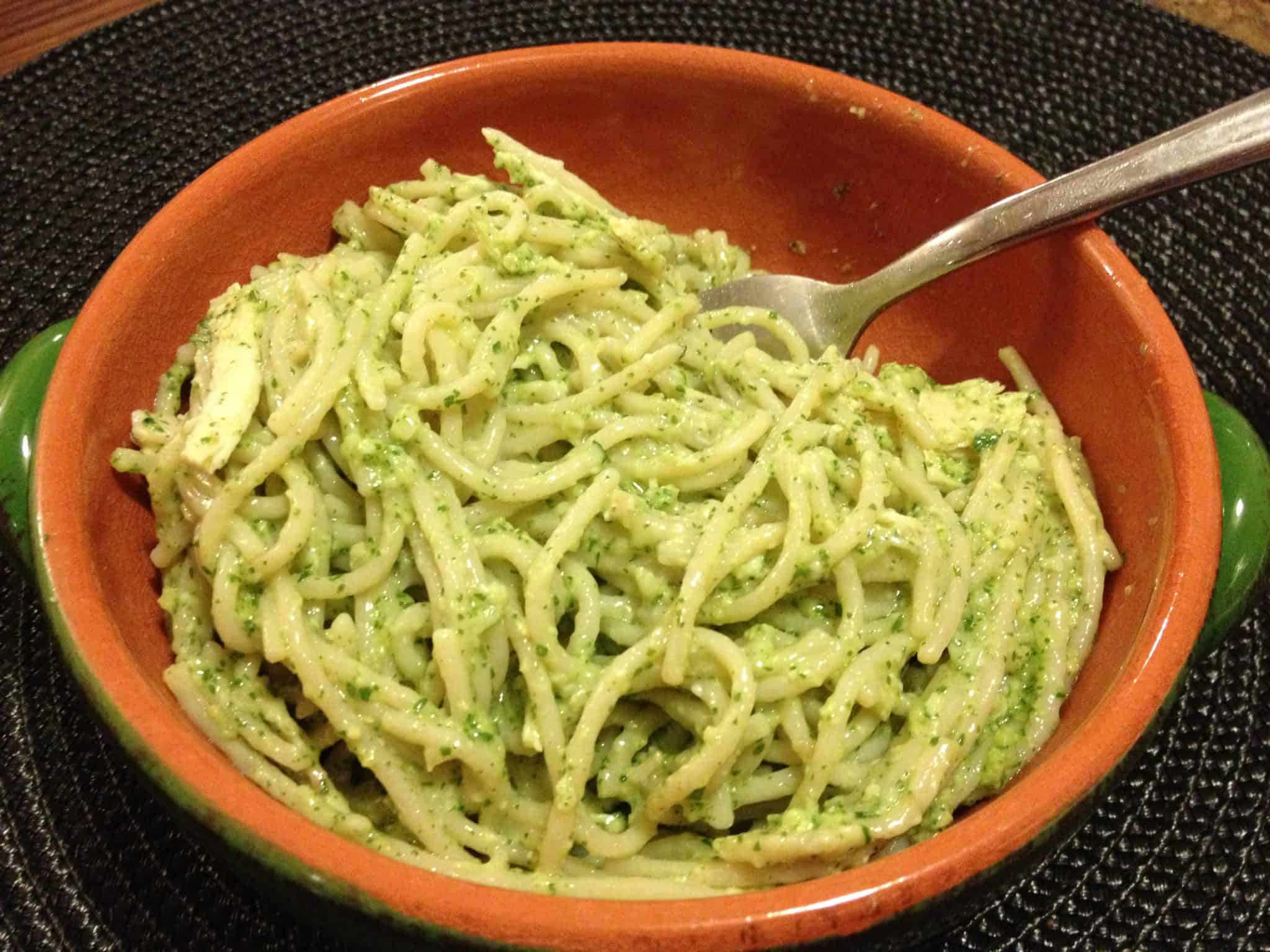 Gluten Free Pesto over pasta and chicken @2CookinMamas