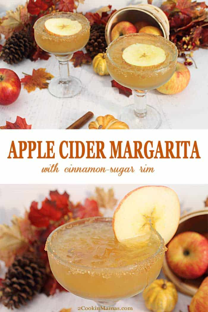 Apple Cider Margarita | 2 Cookin Mamas A little apple cider and tequila makes this easy golden Apple Cider Margarita. A great cocktail to celebrate the fall season! #cocktail #margarita #applecider #recipe #fallcocktail #tequila