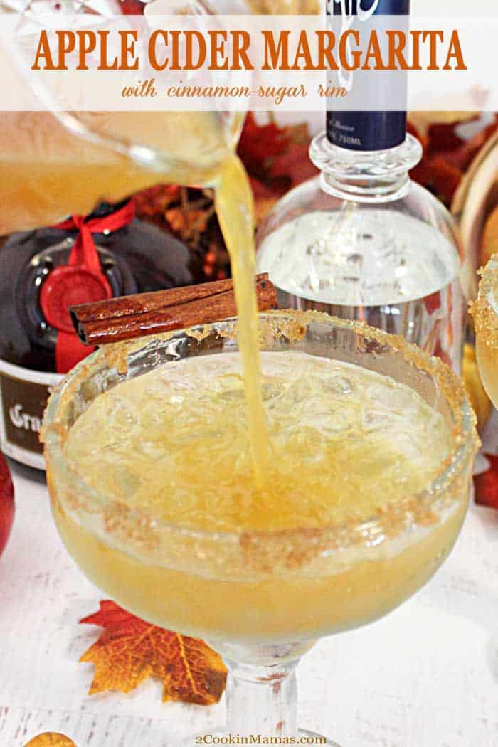 Apple Cider Margarita pin 2 | 2 Cookin Mamas A little apple cider and tequila makes this easy golden Apple Cider Margarita. A great cocktail to celebrate the fall season! #cocktail #margarita #applecider #recipe #fallcocktail #tequila