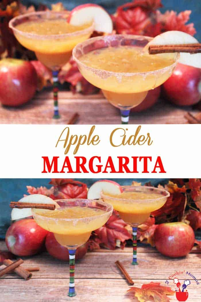 Apple Cider Margarita | 2 Cookin Mamas A little apple cider and tequila makes this easy golden Apple Cider Margarita. A great cocktail to celebrate the season! #recipe #cocktail #margarita #applecider