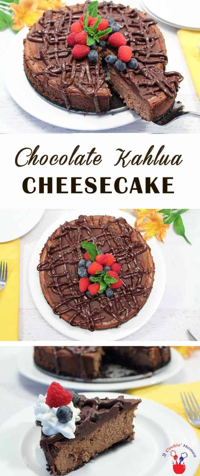 Chocolate Kahlua Cheesecake | 2 Cookin Mamas This Dark Chocolate Kahlua Cheesecake is every chocolate lovers dream. To-die-for, rich & creamy chocolate cheesecake that is taken up a notch with a hint of kahlua then, just to put it over the top, a thick drizzle of more deep dark chocolate.