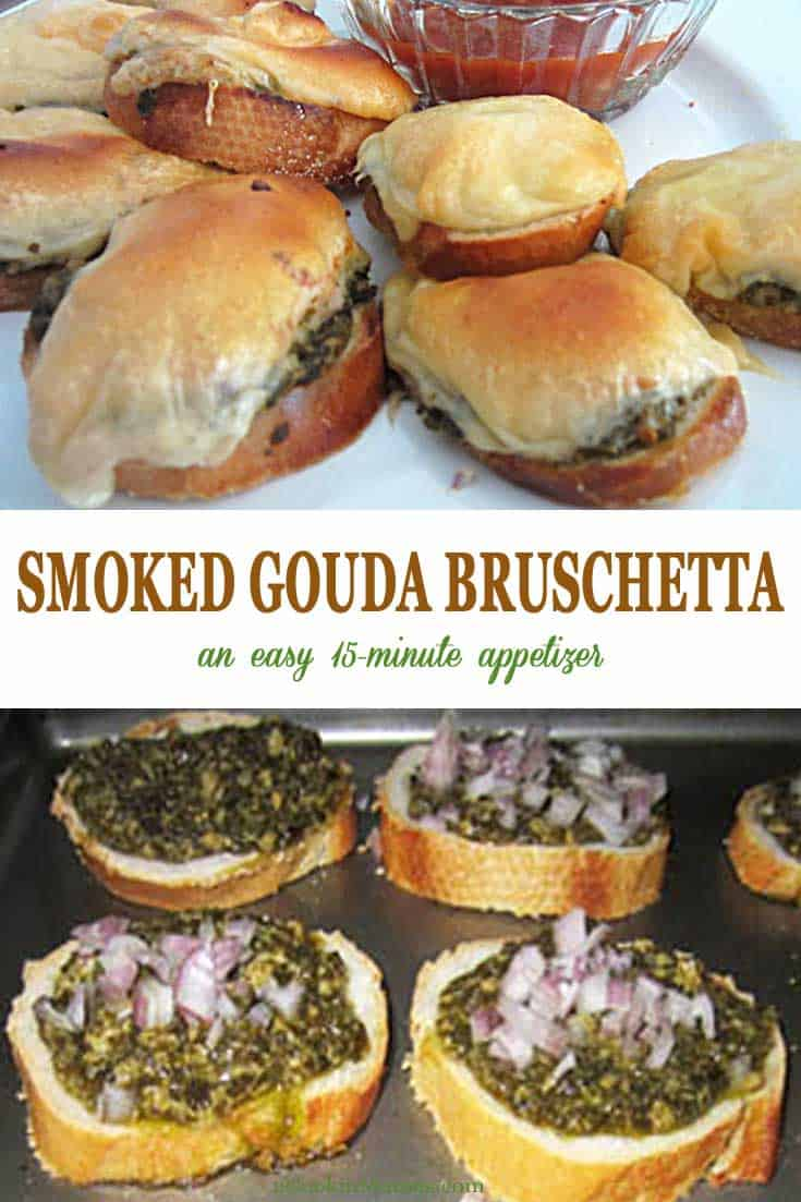 Smoked Gouda Bruschetta tall | 2 Cookin Mamas This smoked gouda bruschetta is simple to make with store bought ingredients but tastes like a gourmet treat. Great for football games and holiday parties! #appetizers #bruschetta #gouda #football #recipe #easy #party #crostini