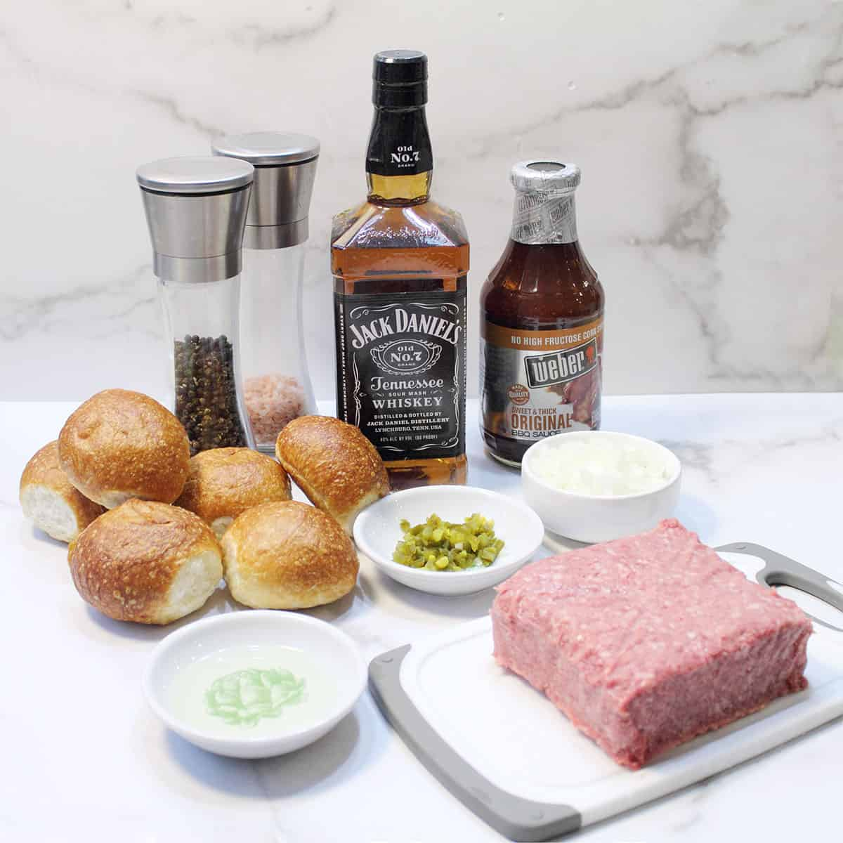 ingredients for BBQ Sliders with Jack Daniels BBQ sauce.