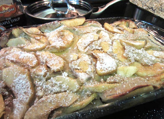Closeup of Gluten-free Dutch Apple Pancake in casserole dish.