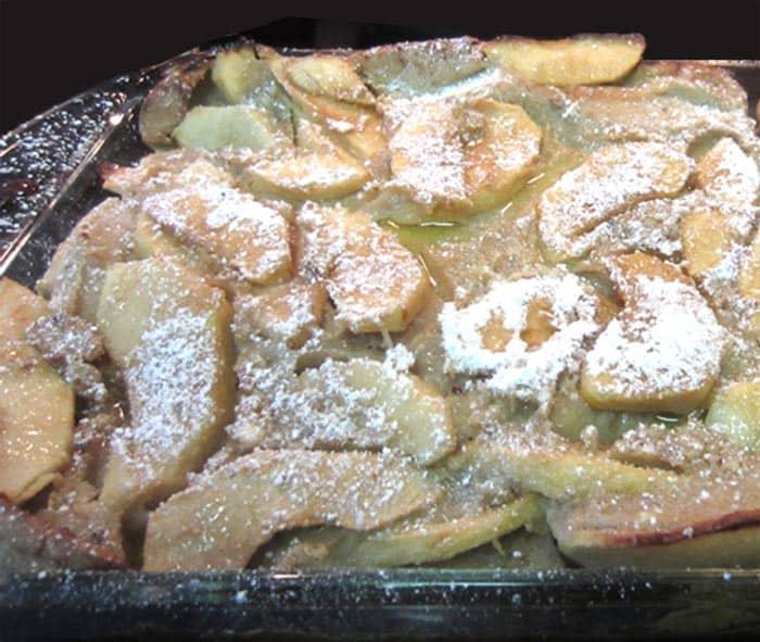 Closeup of Dutch Apple Pancake.