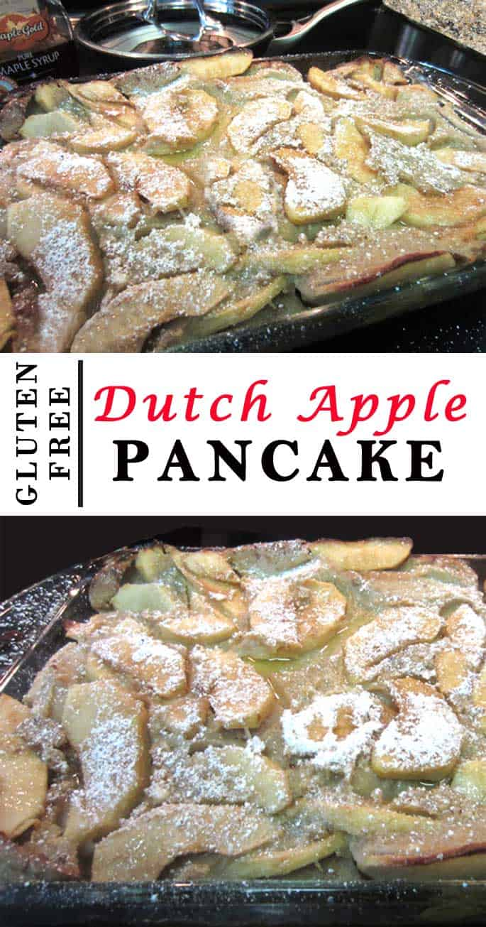 This easy & delicious gluten-free Dutch apple pancake is so delicious you won\'t be able to tell it from the original. A light as air apple-packed breakfast. #glutenfree #apples #pancakes #recipe #breakfast