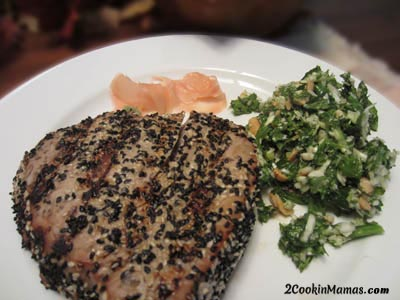 Kale Salad and Seared Tuna Steak