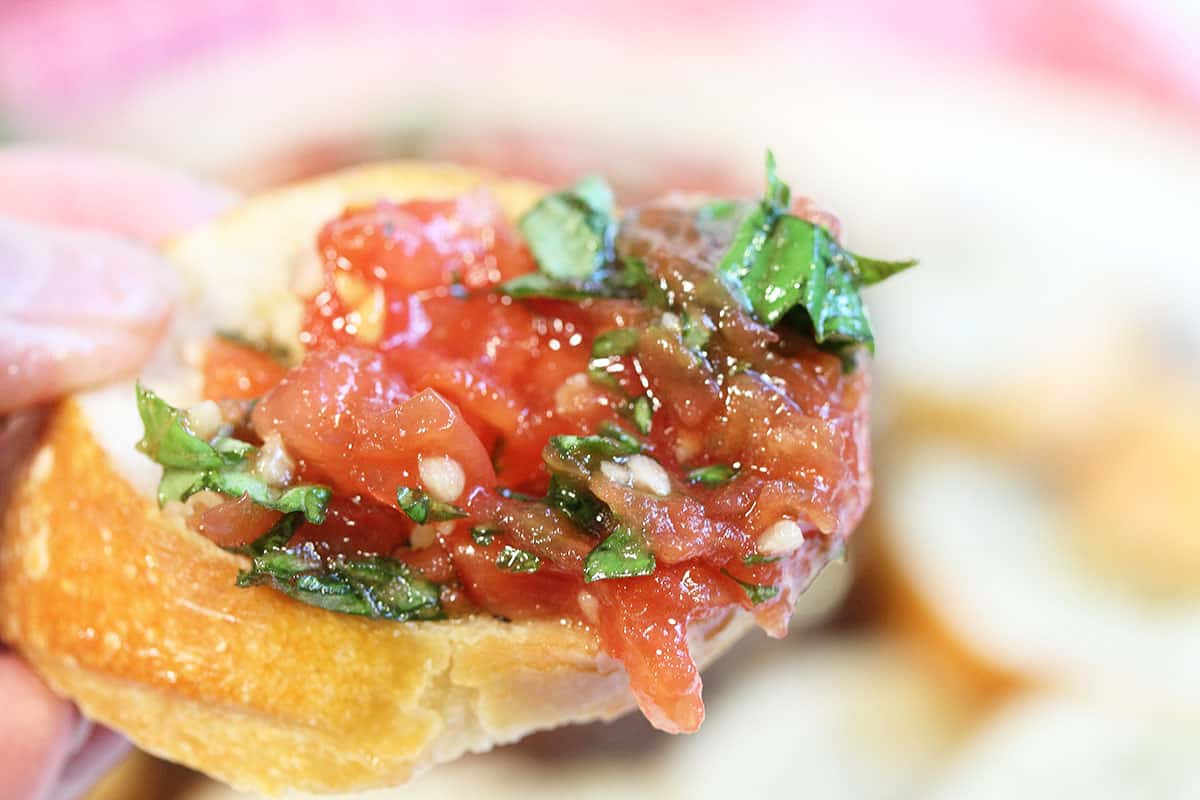Tomato bruschetta on bread crisp closeup.