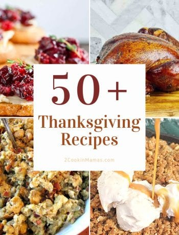 4 photos of Thanksgiving recipes with text overlay stating 50+ Thanksgiving recipes.