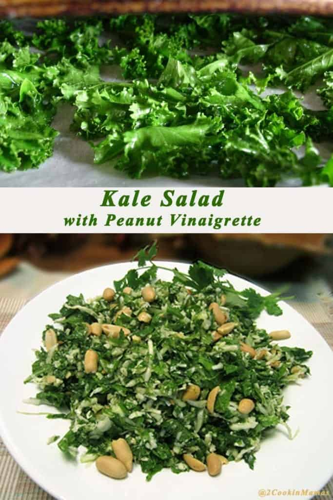 Top photo of kale, bottom of kale salad in white bowl.