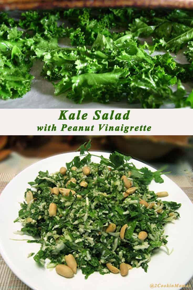 Love Houston's Kale Salad? Here's my version of their delicious & healthy salad, full of kale, cabbage & cilantro & topped with a tangy peanut vinaigrette. #salad #kale #kalesalad #healthy #peanutvinaigrette