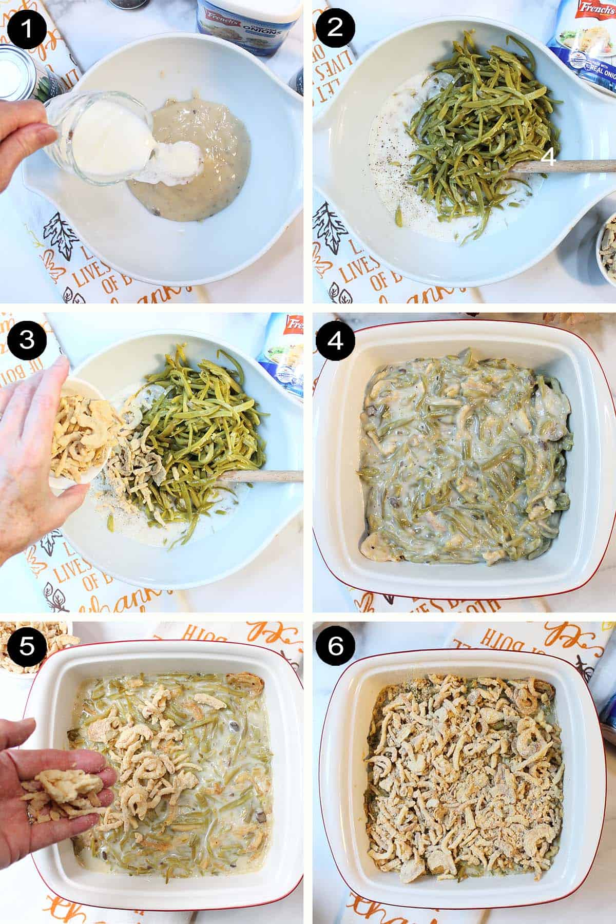 Prep steps for casserole.