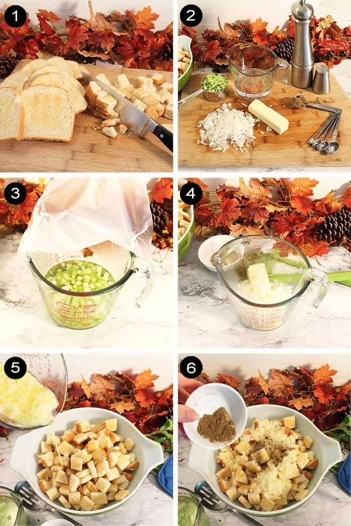 Steps 1-6 to make stuffing.