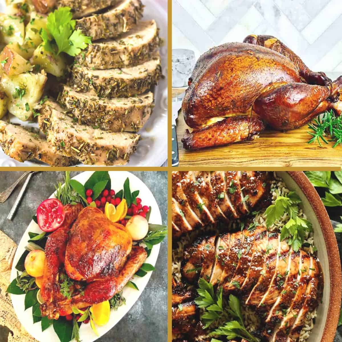 4 photos of turkeys cooked 4 different ways.