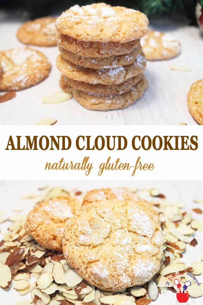 Almond Cloud Cookies | 2 Cookin Mamas If you love almonds these Almond Cloud Cookies are the perfect treat. Almost wholly composed of almonds and almond extract, they are chewy & light with a touch of sweet. And they're gluten-free! #cookies #glutenfreebaking #recipe #almonds