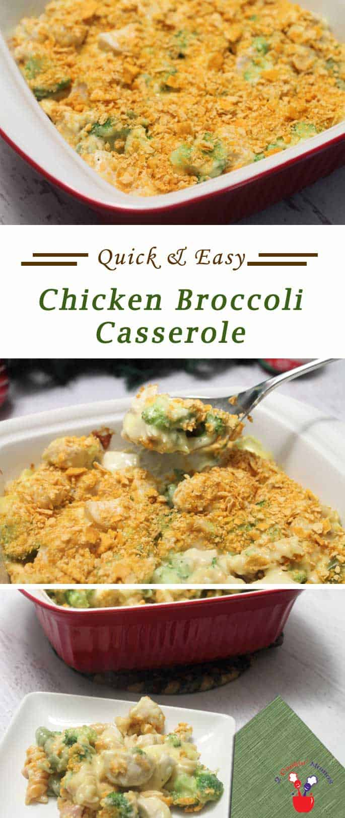 Chicken Broccoli Casserole | 2 Cookin Mamas Creamy and delicious chicken broccoli casserole is easy to make and simple to clean up. It's a nutritious all-in-one dish for those nights when you just don't have the time to cook. #recipe