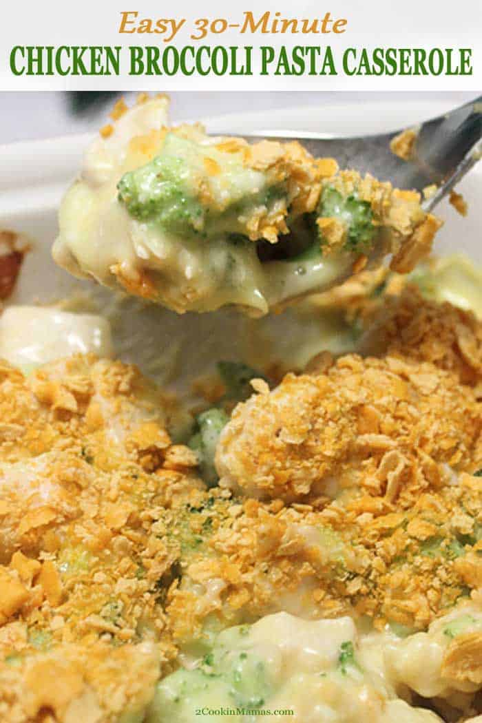 Nothing beats a creamy, cheesy Chicken Broccoli Pasta Casserole! Just toss leftover or rotisserie chicken, broccoli, pasta, soup, yogurt and cheese in a casserole, top with Cheez-Its and bake.  Easy to make, easy to cleanup and you get a deliciously nutritious dinner on the table for those busy weeknights when you just don\'t have the time to cook. #recipe #easy #cheesy #30minute #broccoli #chicken #onepanmeal #rotisseriechicken #chicken #dinner #withnoodles #creamy