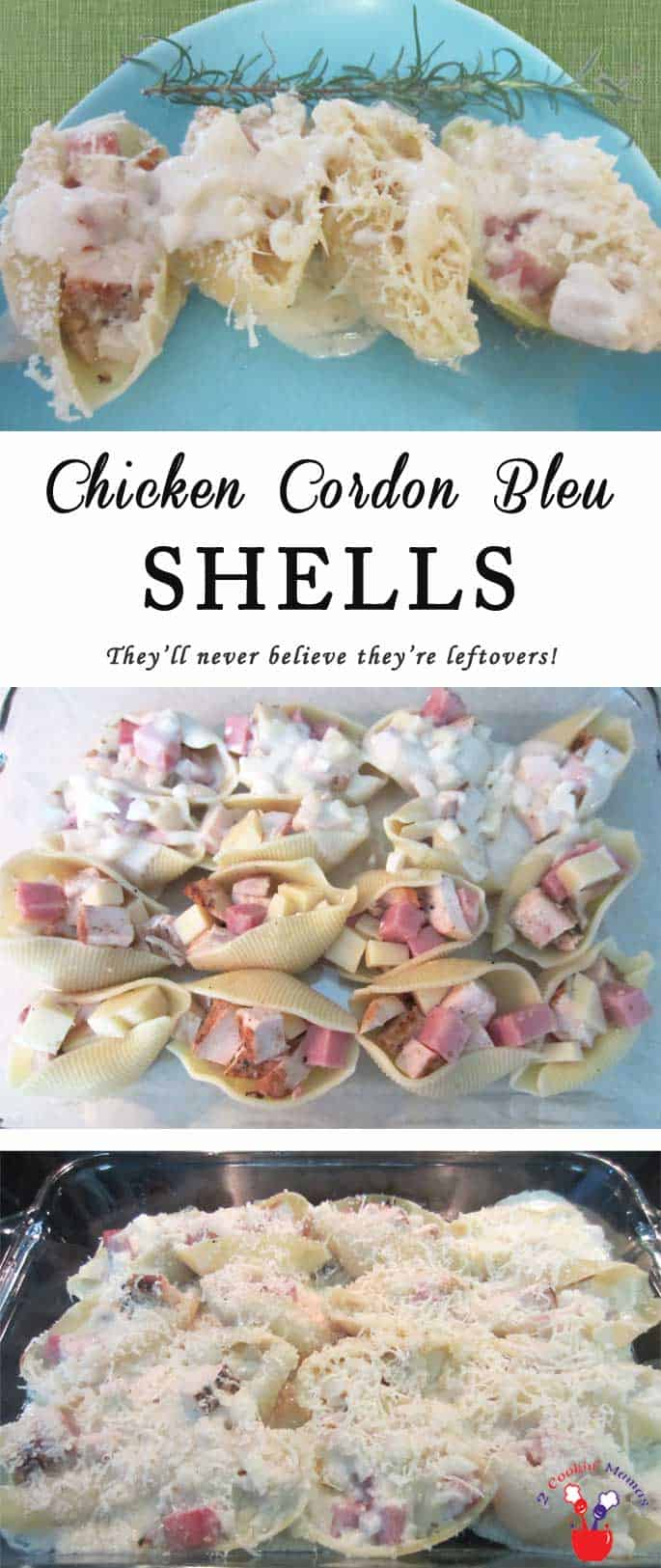 Chicken Cordon Bleu Shells is a pasta dish that combines the best of chicken cordon bleu & Italian shells. The shells are stuffed with leftover chicken & ham then topped with a creamy cheese sauce. Leftovers never tasted so good! #casserole #chicken #ham #chickencodonbleu #stuffedshells #dinner