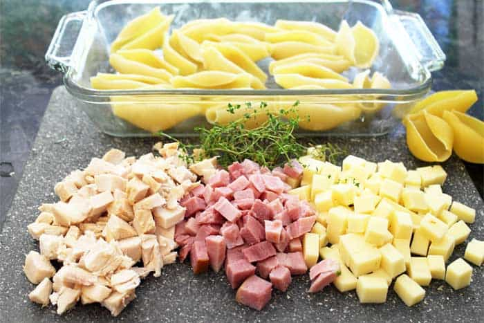 Chicken Cordon Bleu Shells ingredients.