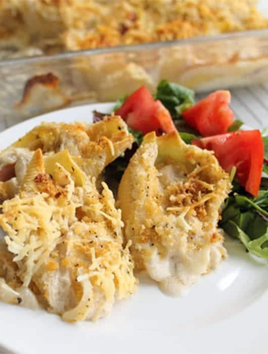 Chicken Cordon Bleu Shells square | 2 Cookin Mamas