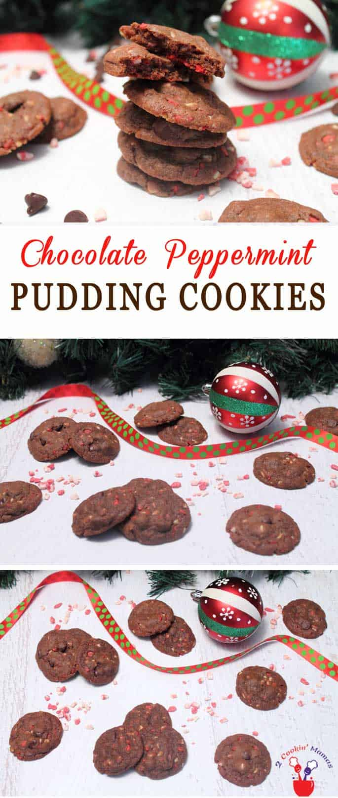 Our Chocolate Peppermint Pudding Cookies recipe makes delicious soft buttery cookies filled with chocolaty goodness & just the right amount of peppermint chips for a little crunch. #cookies #christmascookies #chocolatecookies #peppermint