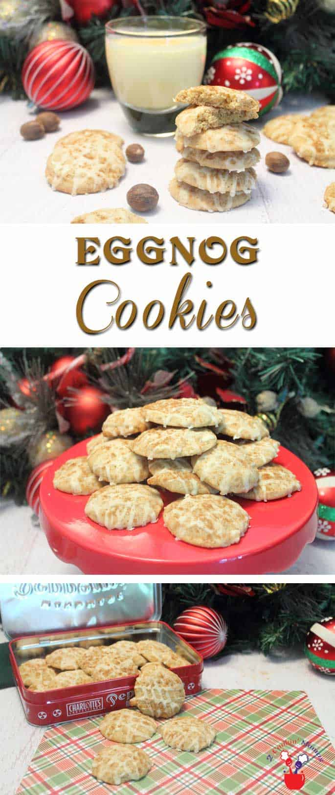 Eggnog Cookies | 2 Cookin Mamas Bake up these deliciously soft & spicy cookies with all the rich flavor of eggnog combined with nutmeg, cinnamon and a touch of rum. #recipe