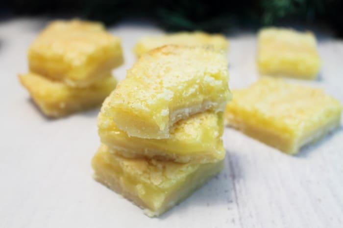 Gluten Free Lemon Squares bite | 2 Cookin Mamas